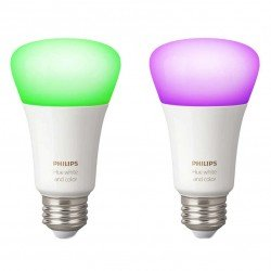 Set 2 becuri inteligente LED RGBW Philips HUE, E27,alba/color